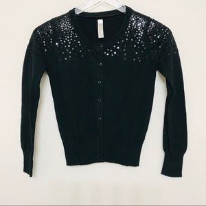 Girl's Black Sequence Cardigan